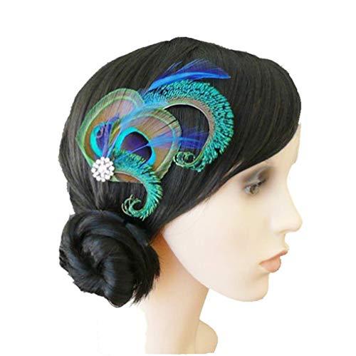 Dusenly Tocado de plumas de pavo real para el pelo clips horquillas de vestido de noche tocado de boda pluma clip accesorios