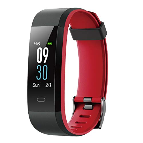 LATEC Smartwatch Orologio Fitness Tracker Smart Watch Cardiofrequenzimetro da Polso Contapassi Smartband Sportivo Activity Tracker Braccialetto Fitness Impermeabile IP68 per Android iOS (Nero+Rosso)