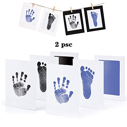 Baby Handabdruck und Fußabdruck Set, Stempelkissen, Druckkarten, mit Papier-Bilderrahmen Set, Ungiftig Inkless - Babyhaut kommt nicht mit Farbe in Berührung, Taufe Geschenk für Neugeborene