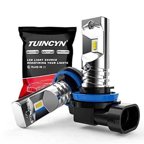 TUINCYN H11 H9 H8 Ampoules LED Antibrouillard 1600Lm Extrêmement Lumineux 6500K Blanc Haute Puissance 80W CSP Puces Feux Diurnes DRL Ampoule LED Daylight DC 12V-24V (Pack de 2)