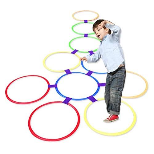 Amoyer 10pcs Hopscotch Ring Game Kunststoff Hopscotch Außen Ring-Spiel Spielt 9 Connectors Lustige Kinder Spielen Set