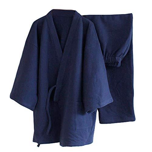 GUOCAO Estilo Grueso Invierno Caliente Kimono Traje Pijama Flojo de los Hombres de los Trajes -Navy Japonesa Ropa de casa