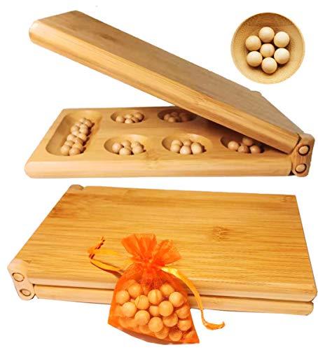 Toys of Wood Oxford TOWO Juego de Mesa Mancala - Juego de Mesa Kahala con Tablero de Madera Plegable - Juego de Mesa Ideal para Familias - Juego de Estrategia Mancala para Niños y Adultos