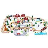 LINGLING-Piste Jouet suivi piste de haute qualité en bois Toy électrique Rail Car...