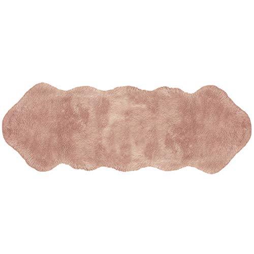 JEMIDI Lammfell Optik BankauflageTeppich Fell ca.180cm x 60cm Lammfellteppich Imitat Vorleger Faux Lammfell Schaffell Teppich Bankkissen Lammfellimitat Rosa