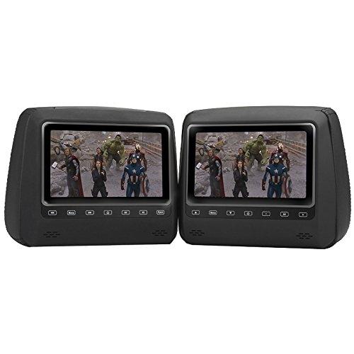 BW appuie-tête Lecteur DVD Lot de 2 appuie-tête, écrans, 17,8 cm Écran LCD TFT, résolution 800 x 480, PAL, NTSC