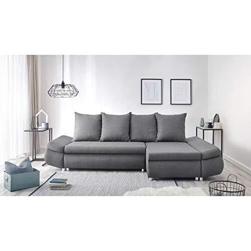 CANAPE - Sofa - Divan Oliver Canape d'angle Reversible Convertible 4 Places + Coffre de Rangement - Tissu Gris anthracit