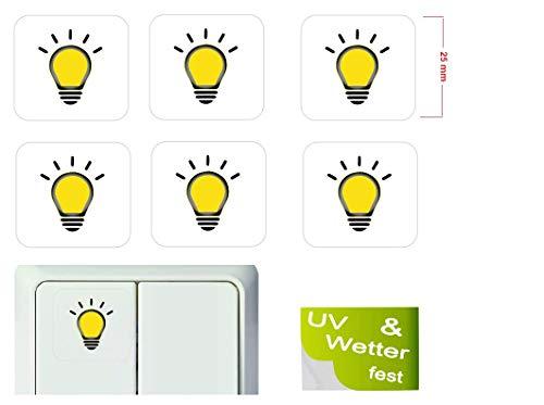 Generisch 6 Stück Lichtschalter Aufkleber Licht Schalteraufkleber Schalter Sticker (R15/1) (25x25mm)