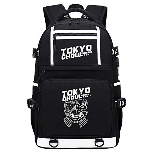 BOBD-DW Tokyo Ghoul College Bag Fits Up Laptop Casual Rucksack Business Travel School Backpack Daypacks with USB Unisex White English Characters USB Anime Backpack 48X30X15CM