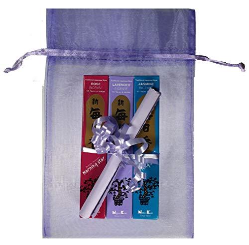 TRIMONTIUM Japanse wierookstokjes cadeauset »Bloemen« (lavendel, rozen, jasmijn) in organzazakjes, kruiden/hars/wortels/etherische oliën, naturel, 18 x 10 x 4 cm