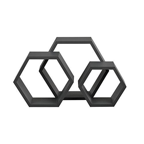 [en.casa] Estantería de Pared estilosa con Forma de Panal 3 Piezas Gris Oscuro Mate diseño Retro