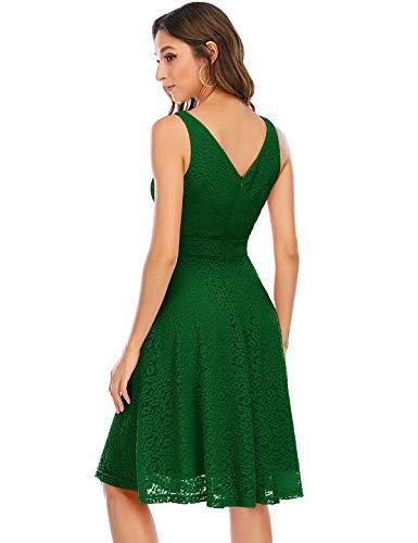 Bbonlinedress Vestito Donna in Pizzo Elegante Cerimonia Cocktail Matrimonio Senza Manica Green S