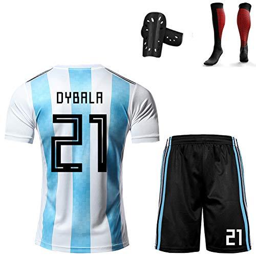 CBVB Fußball Kit für Kinder im anpassbaren Stil, Di María Dybala, Argentinien-Trikot, Fußballuniform der Nationalmannschaft, Trainingsuniform für Jungen und Mädchen-blue21-140