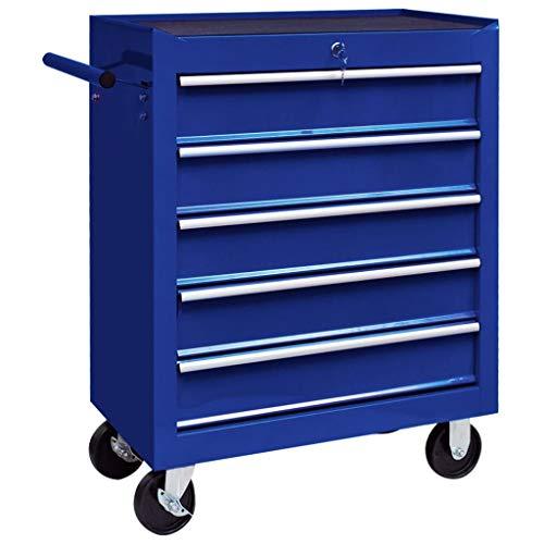 vidaXL Werkstattwagen mit 5 Ausziehbaren Schubladen Abschließbar Kratzfeste Oberfläche Werkzeugwagen Werkzeug Rollwagen Werkzeugkiste Blau