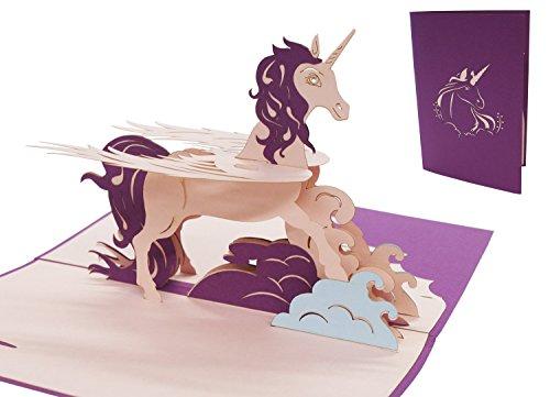 LIN17527, Pop - Up - Kaarten Eenhoorn, POP UP kaarten verjaardag, 3D wenskaarten verjaardagskaart meisjes kinderen Unicorn Eenhoorn, N281