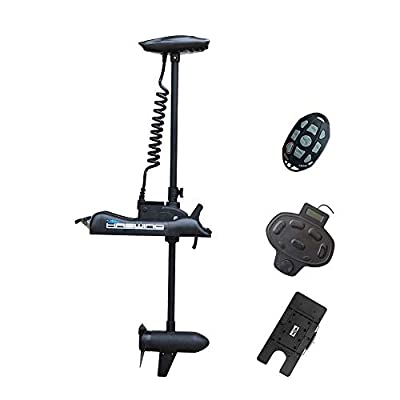 Haswing Black Cayman 12V 55lbs 48 inch Bow Mount Electric Trolling Motor Lightweight, Variable Speed, with Foot Control/Quick Release Bracket for Bass Fishing Boats Freshwater/Saltwater