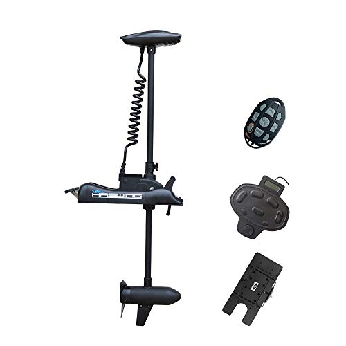 AQUOS Black Haswing Cayman 24V 80lbs 48inch Bow Mount Electric Trolling Motor Lightweight, Variable Speed, with Foot Control/Quick Release Bracket for Bass Fishing Boats Freshwater and Saltwater Use