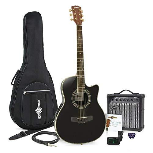 Roundback-Elektro-Akustikgitarre Black im Paket mit 15-Watt-Verstarker