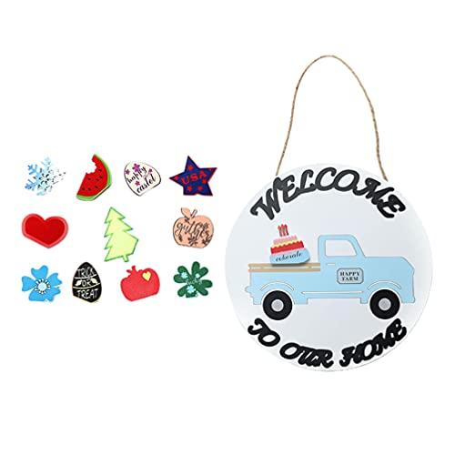 VICASKY Placa de boas-vindas de caminhão, porta frontal, azul, decoração de caminhão, número de casa de boas-vindas, pode ser substituído com lista de madeira vintage + 12 acessórios