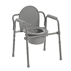 Drive Medical 11148-1 Steel Folding Bedside Commode, Grey, Bariatric