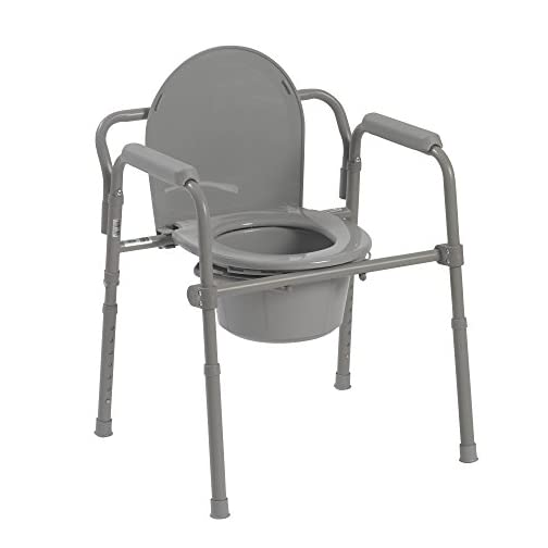 """Drive Medical 11148-1 Steel Folding Bedside Commode, Grey, Bariatric, 18""""x22.5""""x35"""" 3"""