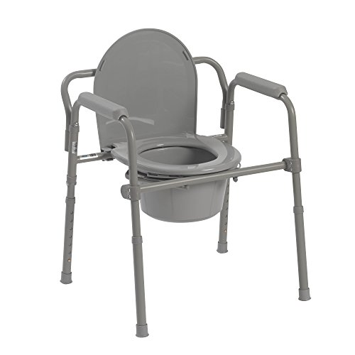 Drive Medical Steel Folding Bedside Commode, Grey, Bariatric