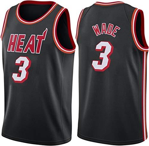 ATI-HSKJ Dwyane Wade # 3 Jerseys, NBA Miami Manga De Baloncesto Ropa Respirable Fresco Tela Alero del Chaleco Sin Mangas sobre El Tema,M(170~175cm/65~75kg)