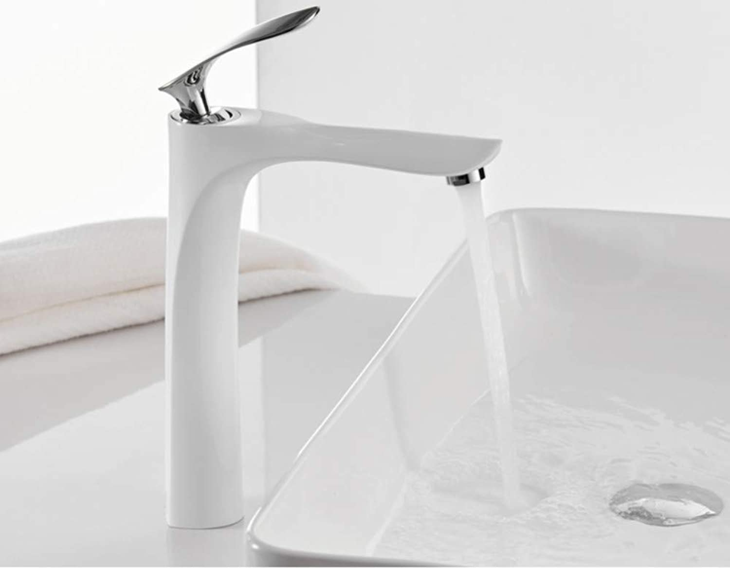 Zlxzlx Basin Faucets White color Bathroom Faucet Hot and Cold Chrome Finish Brass Toilet Sink Water Crane gold