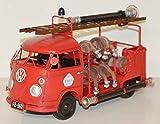 JS GartenDeko Blechauto Nostalgie Modellauto Oldtimer deutsche Marke Bulli T1/T2 Feuerwehr Feuerwehrauto 1966 aus Blech L 35 cm