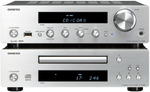 Onkyo PHA-1045 (S) CD HiFi-Kompaktanlage (70 Watt/Kanal, FM/AM Radio, CD-R/RW, MP3/WMA, Apple iPod-USB, Digital IN, Phono, Sub Preout) silber