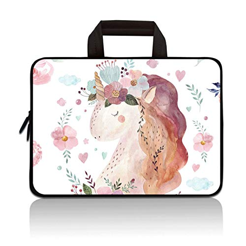 RUYIDAY 11 11.6 12 12.1 12.5 inch Laptop Carrying Bag Chromebook Case Notebook Ultrabook Bag Tablet Cover Neoprene Sleeve Fit Apple MacBook Air Samsung Acer HP DELL Lenovo Asus (Pink Unicorn)
