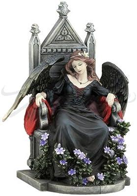 9.25 Inch Female Gothic Angel Sitting on A Throne Figurine, Black