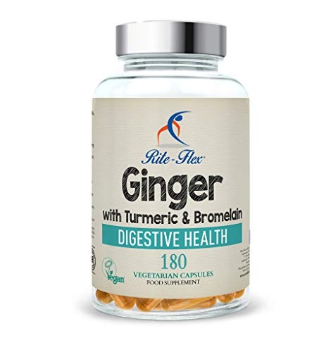 New Size! Turmeric with Ginger & Bromelain, 180 Vegetarian Capsules, Herbal Botanical Formula Supports Digestive Health by Rite-Flex