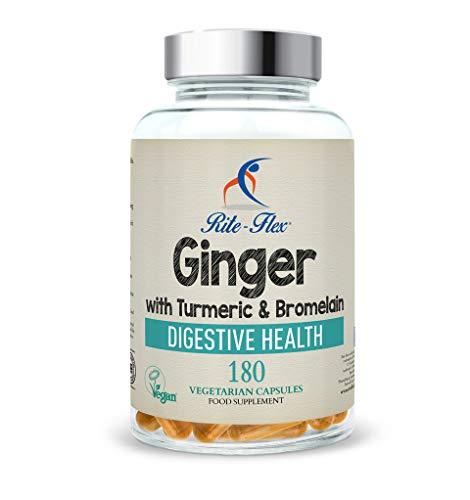 Nuevo tamaño! Cúrcuma con jengibre y bromelina, 180 cápsulas vegetarianas, fórmula botánica a base de hierbas compatible con la salud digestiva por Rite-Flex