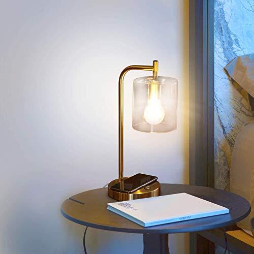 CHUIX Büro-Schreibtisch-Lampe - Wireless-Charging Pad Und USB-Anschluss - Wohnzimmer Tischleuchte Für Midcentury, Industrial & Bauernhof-Dekor - Hängenden Glas Shade - LED-Lampe - Messing Gold Farbe