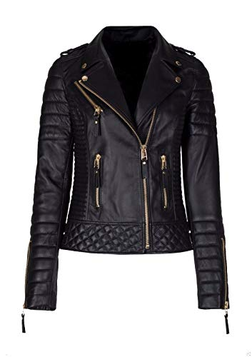 KYZER KRAFT Womens Leather Jacket Bomber Motorcycle Biker Real Lambskin Leather Jacket for Womens 19 L