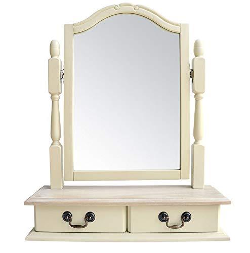 Espejo de pie con cajones, color crema