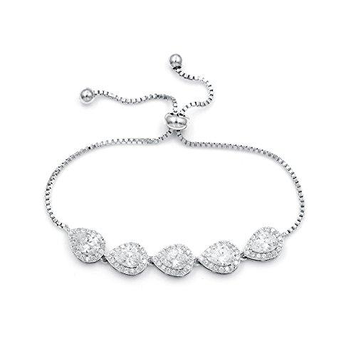 WeimanJewelry Cubic Zirconia CZ Wedding Bridal Pear Cut Adjustable Teardrop Chain Bracelet for Women Lady (Silver)