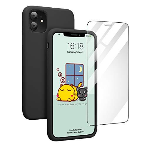 Pukizog Hülle für iPhone 11, Silikon Schutzhülle mit HD-Panzerglas Schutz vor Kratzer/Stoßfeste Handyhülle Case Cover Bumper für iPhone 11 (6,1 Zoll) Schwarz