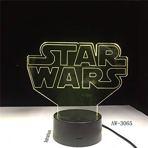 Star Sci-fi Moive Wars Logo Ambient Creative 3065 Night Light 3D LED Lámpara de mesa regalo de cumpleaños para niños decoración de la habitación junto a la cama