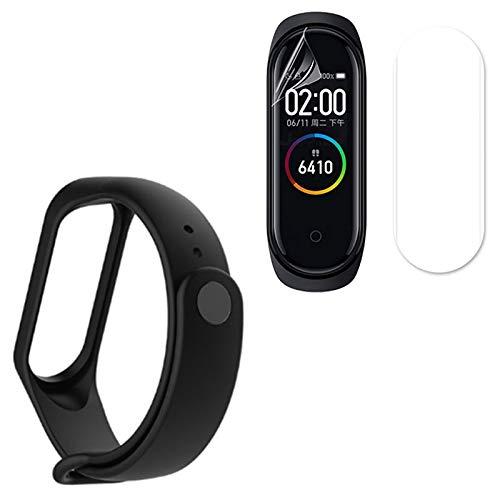 Kit Pulseira Silicone Flexível Preta Xiaomi Mi Band 4 + Película Protetora Gel Ultra-Slim