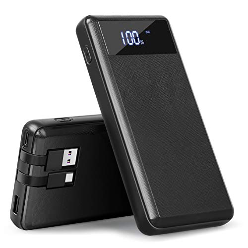 20000mAh Portable Phone Charger,Portable Charger Power Bank External Battery Pack Built-in Cable with LCD Digital Display 5V 2.1A Fast Charger...