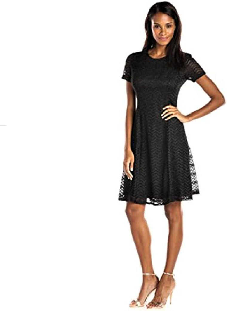 S.L. Fashions Women's Chevron Knit A-Line Dress, Black, 12