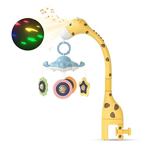 TUMAMA Baby Musical Kinderbett Mobile,Babybett hängendes Spielzeug mit Projektionsfunktion und Nachtlicht,hängendes rotierendes Beißrasseln und Melodien Musikspielzeug für Neugeborene