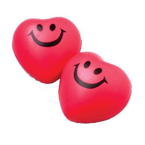 U.S. Toy Red Heart Smile Face Foam Relax Balls (1 Dozen)