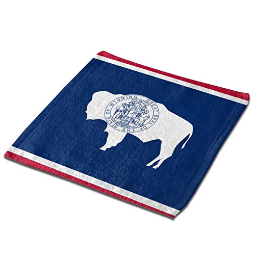 Yuanmeiju Toalla Cuadrada Wyoming State Square Washcloths Face Wash Cloth Fingertip Towel Rags Soft Merch Gift and Absorbent 13 x 13 Inches