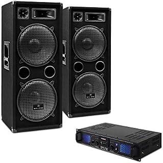 "Electronic-Star DJ-20 - Set Sono DJ, Ampli Enceintes, SubWoofer 12"", USB, SD, AUX, Radio FM, LED, Grille de Protection, 2000W"