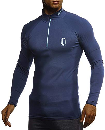 Leif Nelson Gym Jungen Fitness Shirt Trainingsshirt Slim Fit | Moderner Männer Bodybuilder Sportshirt Langarm | Jungen Sport T-Shirt Bekleidung für Bodybuilding Training | LN8282 D.Blau-Türkis Medium