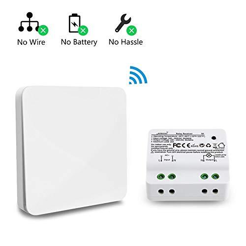 Waroomss Kit D'interrupteur D'éclairage sans Fil Cinétique, sans Câblage sans Fil, Création Rapide Ou Déplacement des Interrupteurs Marche/Arrêt pour Lampes