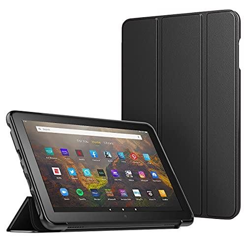 MoKo Funda Compatible con Fire HD 10/HD 10 Plus Tablet (11 Gen, 2021 Release), Cubierta Protectora Ultra Delgada Plegable Inteligente Trasera Transparente con Soporte de TPU, Negro